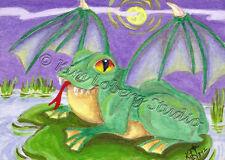 Demon bat wing Frog toad Halloween aceo EBSQ Kim Loberg Mini Art moon Night pond