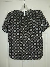 Charter Club Petites Women's Geometric Pattern Silk Top Size 10P EXC