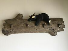 "Big Sky Bears ""Jasper"" By Jeff Fleming Carved Wood Coat Rack With Four Hooks"