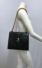 VINTAGE PALOMA PICASSO CROCODILE PURSE BLACK GOLD METAL LOCK AND CHAIN AMAZING!