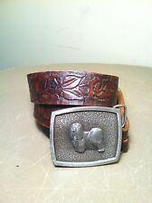 VINTAGE 1975 BERGAMOT BRASS DOG BELT BUCKLE & Leather Belt - LHASO APSO - USA