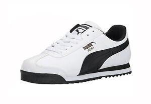 Puma Roma Basic White Black Synthetic Medium Width Men Fashion Shoes Sneakers
