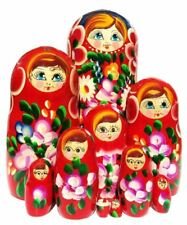 Rosetta 10-Pc Red Babushka Huge Floral Painted Stacking Gift Toy Nesting Doll