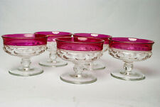 5 Vintage Amethyst Glass Footed Purple Ice Cream Sherbet Dessert Dishes 3.25""