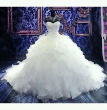 New Organza white/ivory wedding dress Bridal Gown Custom made UK