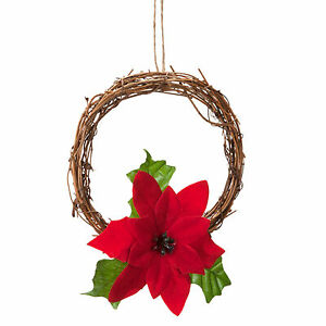 Christmas 15cm Mini Hanging Door Wreath with Red Poinsettia