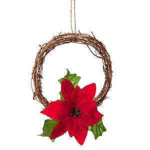 Navidad 15cm Mini Colgante Puerta Corona con Rojo Ponsetia