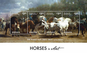 """Grenada - Horses On Stamps - """"The Horse Fair"""" By Rosa Bonheur - 4X - 2015 MNH"""