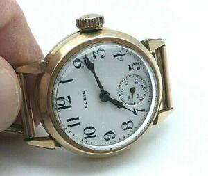 Elgin 1919 WWI MILITARY Gold Filled Clean Original Enamel Dial /w Bracelet RUNS