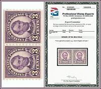 1924 Pair 3c USA Stamp Scott #600 Mint OGnh Abraham Lincoln PSE XF 90 Unused