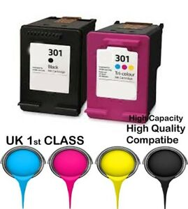 2 remanufacured ink cartridges  For HP 301 Envy 4500 4502 4504 4505 4507 printer