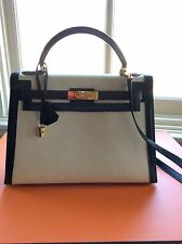 HERMES KELLY 32cm SELLIER PONY & LEATHER GOLD HARDWARE