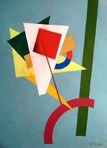 IVAN KLIUN Signed Painting GREEN LINE Abstract Avant Garde Russian Rare USSR Art