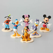 6 pcs Mickey Minnie Mouse Donald Duck Clubhouse Cake Toppers Stand Figure +CHARM