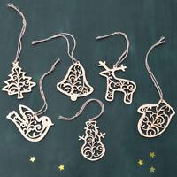 EG_ FM- 6Pcs Christmas Tree Hollow Wooden Reindeer Snowman Hanging Ornaments Dec