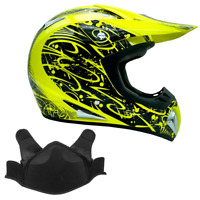 Snowmobile Helmet Snocross Yellow Hi-Viz With Breath box Adult DOT Snow