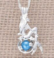 NEW Disney Ariel The Little Mermaid Silver Plated Blue Pearl Bead Cage Necklace