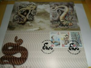 Indonesia 2013 fdc years of snakefirst day cover ( stamp and ms)
