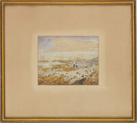 R.S - Framed Late 19th Century Watercolour, Beach Scene, Rockpooling