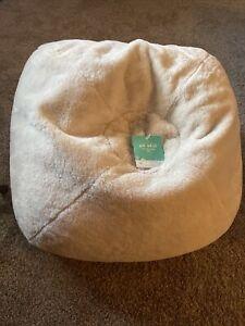 WHITE/Beige Pillowfort Fuzzy furry bean bag seat bedroom dorm floor pillow chair