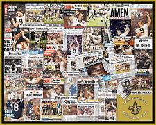 New Orleans Super Bowl Newspaper Headline Collage Print.