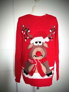 Weihnachtspullover Gr.38 Weihnachtspulli Rentier Weihnachten Pullover rot NEU