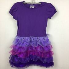 Hanna Andersson Girls Tulle Ruffle Dress Short Sleeve Purple Ombre Size 110 US 5