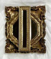 SET/3 VTG BURWOOD Gold Ornate Mirror Oval Hexagon Rectangle Hollywood Regency