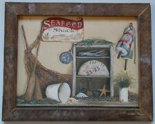 """COASTAL - """"SEAFOOD SHACK"""" by Pam Britton - Print Framed in Rustic Wood"""