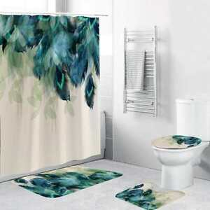 Watercolor Peacock Feather Shower Curtain + 3Pcs Toilet Seat Anti Slip Soft Mat