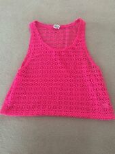 Pink By Victoria Secrets Crochet Sleeveless Cerise Pink Top Size S