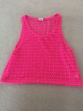 Pink de Victoria Secrets Crochet sin mangas Cerise rosa Top talla S