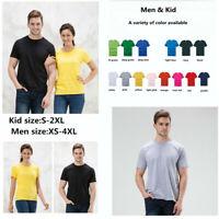 100% Cotton Men Women Kids Tee T-Shirt Crew Neck Plain Casual Short Sleeve Tops