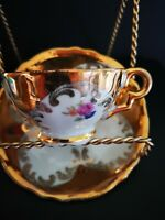 Barvarian demitasse cup and saucer  Gold Finish with flowers