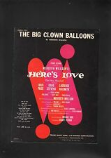 The Big Clown Balloons 1963 Here's Love Sheet Music