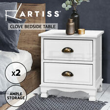 Artiss Bedside Tables Drawers Side Table Nightstand Vintage Storage Cabinet x2