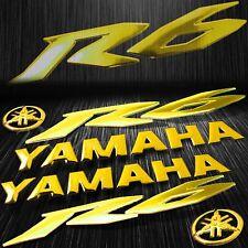 """5.75"""" 3D Logo+Letter Decal+6"""" Fairing Emblem Sticker for YZF-R6/R6S Chromed Gold"""