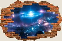 3D Hole in Wall Fantasy Sky World View Wall Stickers Film Mural Wallpaper 371