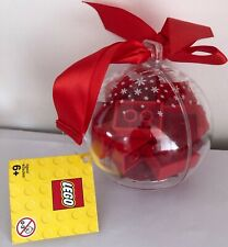 LEGO Seasonal Ornament Bauble Clear Snowflakes Red Bricks 853344 Holiday 2009