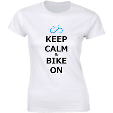 Women's Keep Calm And Bike On T-Shirt Bicycle Rider Bicyclist Shirt Free S&H!