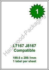1 Label per Sheet x 100 Sheets L7167 / J8167 White Matt Copier Inkjet Laser