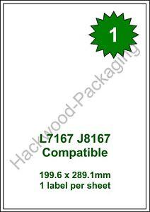 1 Label per Sheet x 100 Sheets White Matt Copier Inkjet Laser