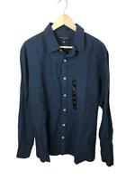 NEW Banana Republic Men's Size XL Blue Linen Slim Fit Long Sleeve Button Shirt