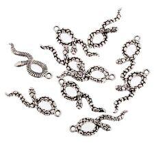 Snake Serpent Beads Tibetan Silver Charms Pendant DIY Bracelet 8pcs 30*12mm