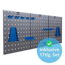 Panorama24 Metall Werkzeugwand mit 17-teilig Hakenset - Blau (P24-5619-002)