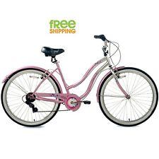 """Women Cruiser Bike 26""""  City Light Pink White 7 Speed Hybrid Comfort Bicycle New"""