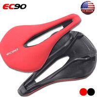 EC90 MTB Racing Bike Leather Saddle Seatpost Wide Seat Cushion Gel Soft Leather