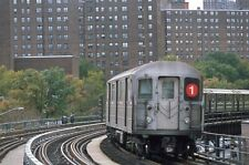 Nycta Transit R62 subway slide. West 206th Street curve. Autumn view