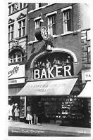 uk40302 bakers clock gloucester  real photo  uk shop jeweller