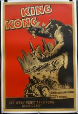 KING-KONG 1933, ORIGINAL ARGENTINA POSTER 1sheet  '50s Great Artwork, on linen